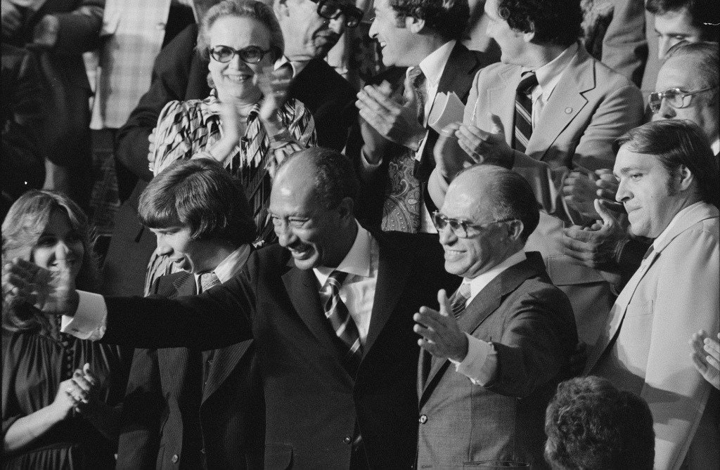 Begin and Sadat After Announcement of Camp David Accords by Warren K. Leffler, 1978 (LOC)