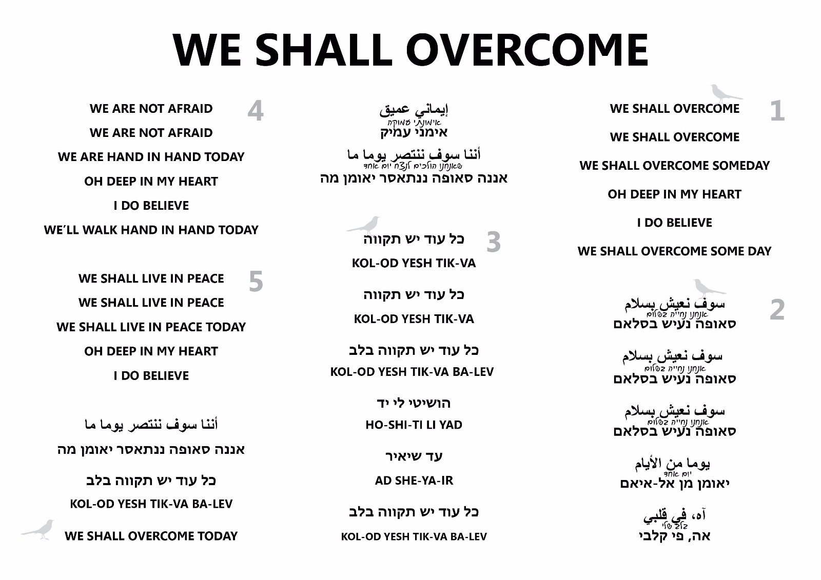 Lyrics in English, Hebrew and Arabic - We Shall Overcome
